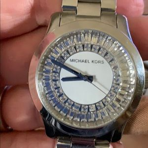 Michael Kors silver inlay with crystals. Newer !